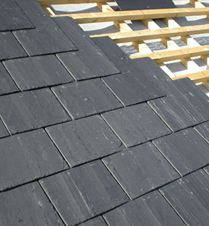 Part way through a slate roof in Rotherham